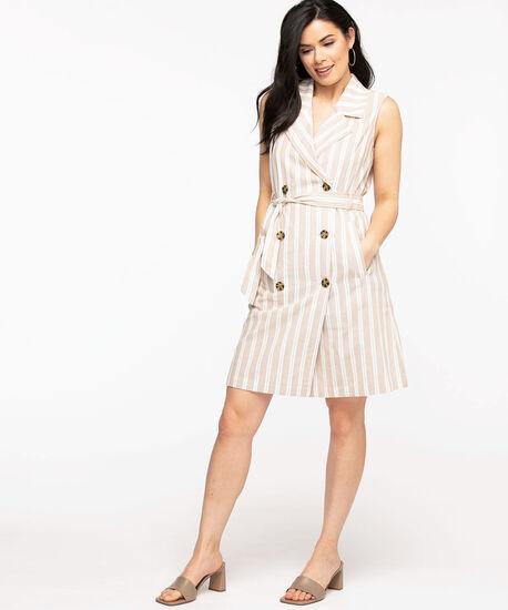 Cotton Trench Dress, Stone Stripe, hi-res