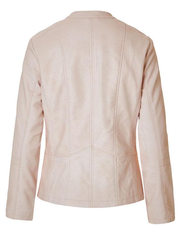 Pink Scuba Faux Leather Jacket, Pink, hi-res