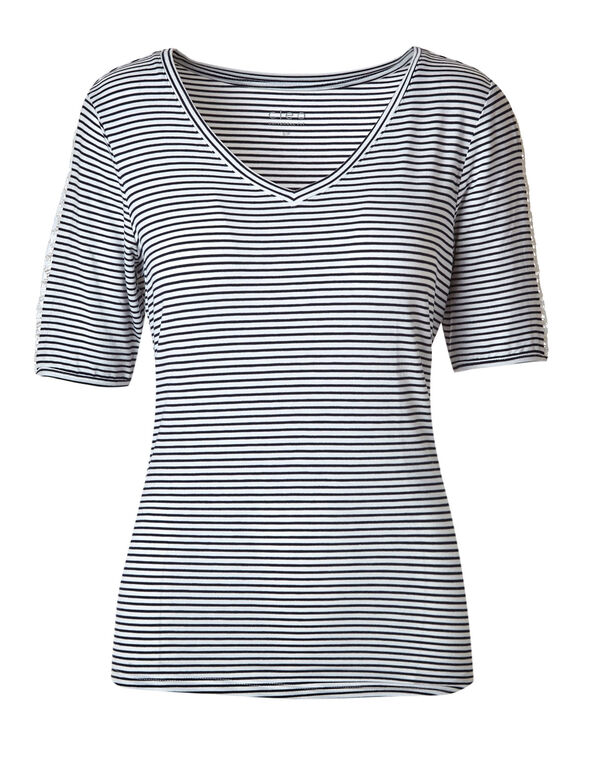 Navy Striped Crochet Sleeve Tee, White/Navy, hi-res