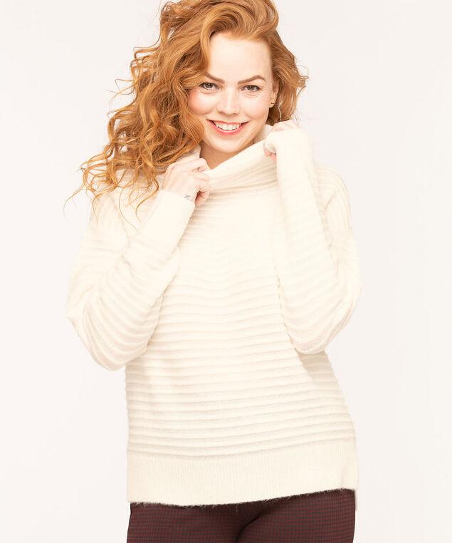 Ottoman Rib Mock Neck Sweater, Ivory, hi-res