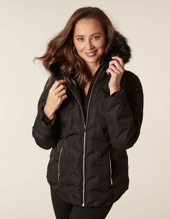 Black Short Down Coat, Black, hi-res