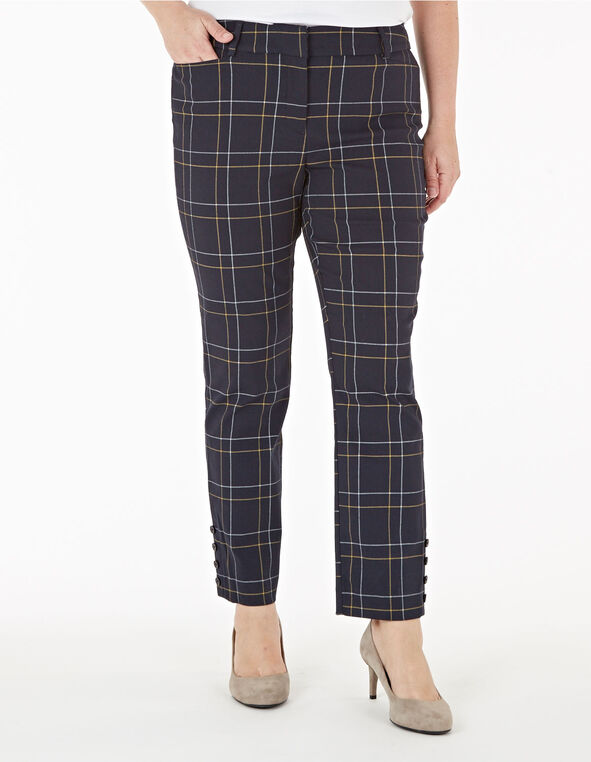 Navy Windowpane Slim Leg Ankle Pant, Navy, hi-res
