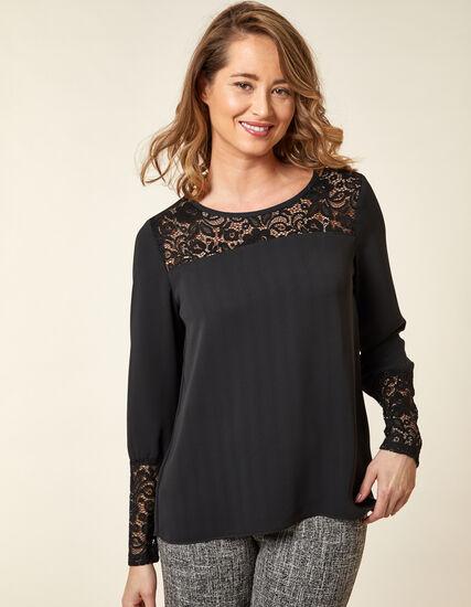 Black Lace Detail Blouse, Black, hi-res