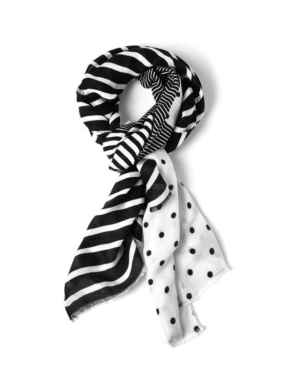 Black & White Patterned Pashmina Scarf, Black/White, hi-res