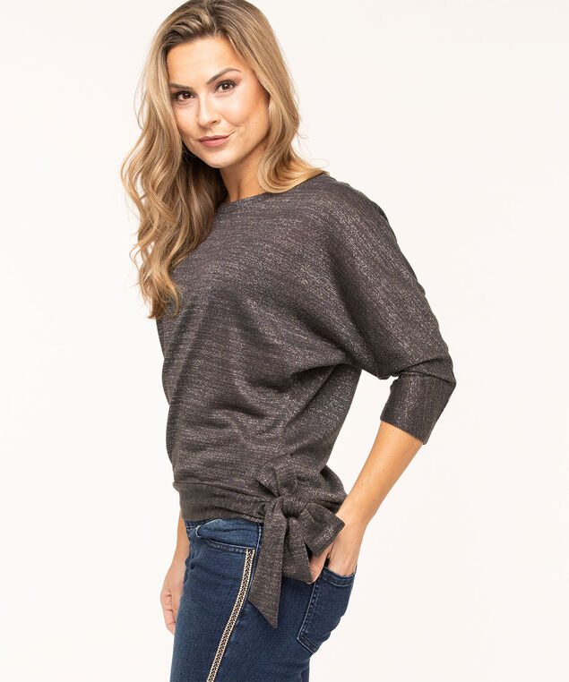 Silver Shimmer Side Tie Top, Silver/Grey Mix