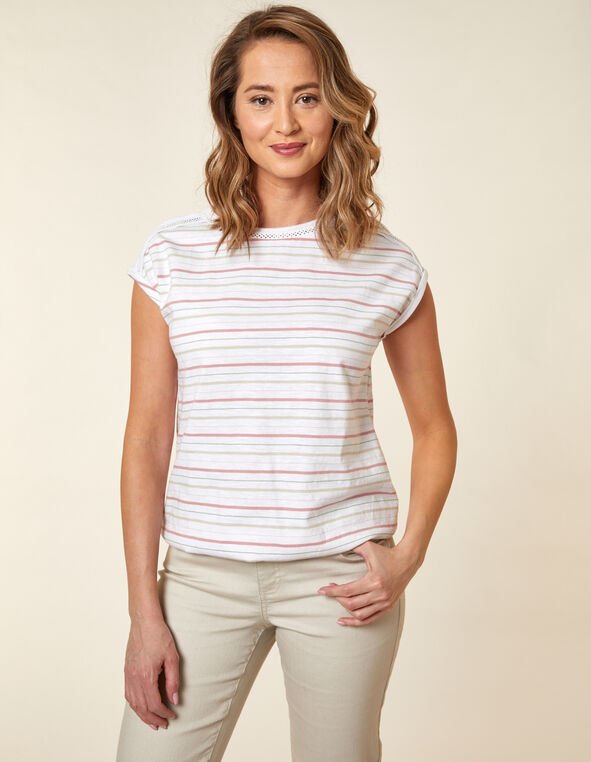 Rose Striped Bubble Hem Tee, Pink/Rose, hi-res