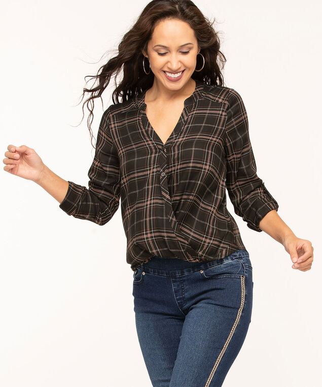 Black Plaid Twist Front Blouse, Black/Brown/Ivory, hi-res
