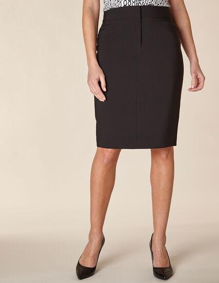 Black Zip Front Pencil Skirt, Black, hi-res