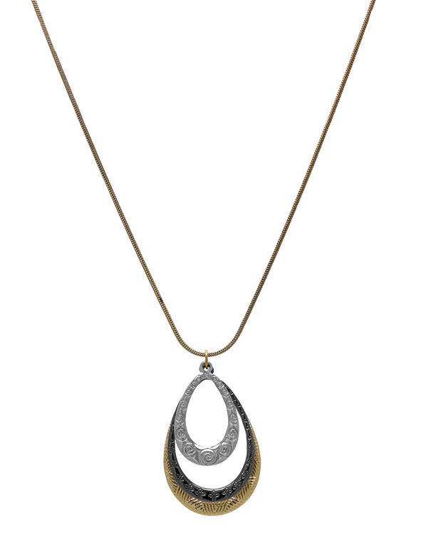 Short Tri-Metal Necklace, Gold/Black/Silver, hi-res