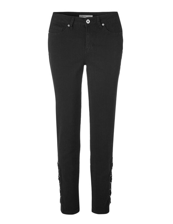 Black Lace Up Slim Leg Jean, Black, hi-res