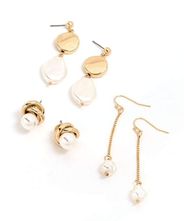 Pearl Earring 3-Pack, Gold