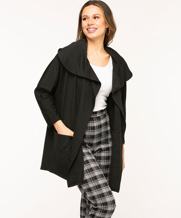 French Terry Wide Lapel Cardigan, Black