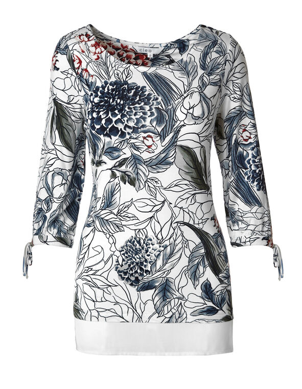 White Floral Tie Sleeve Top, White, hi-res