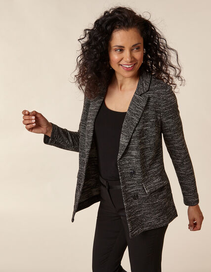 Black Double Button Knit Blazer, Black/White, hi-res