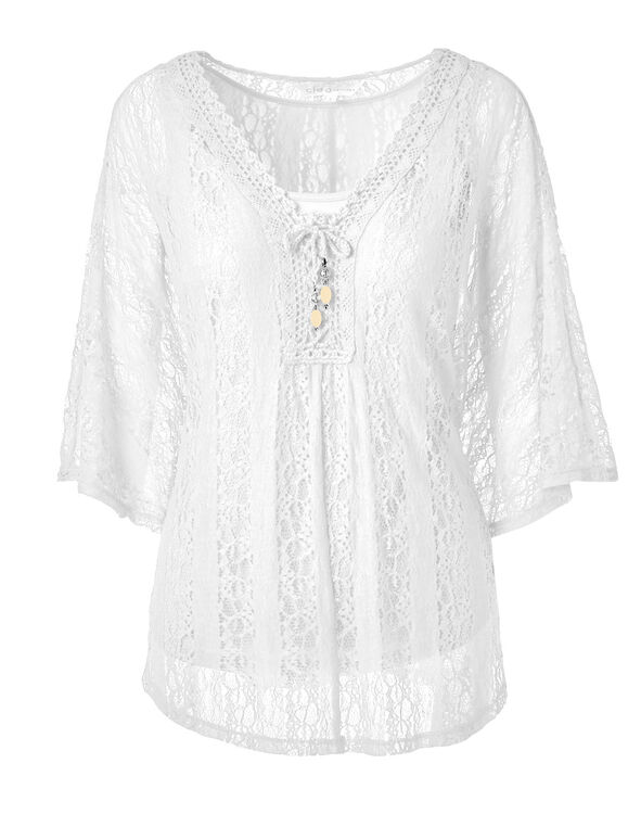 White Crochet Caftan Top, White, hi-res