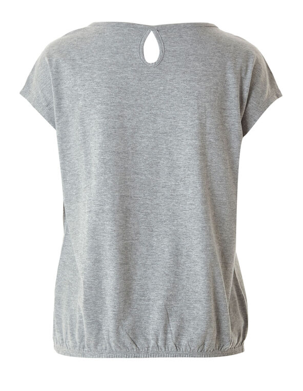 Grey Bubble Hem Tee, Grey, hi-res