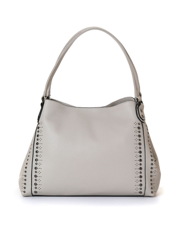 Sand Studded Hobo Handbag, Neutral/Sand, hi-res