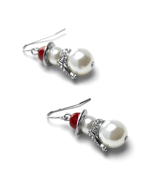 Pearl Snowman Fish Hook Earring, Pearl, hi-res