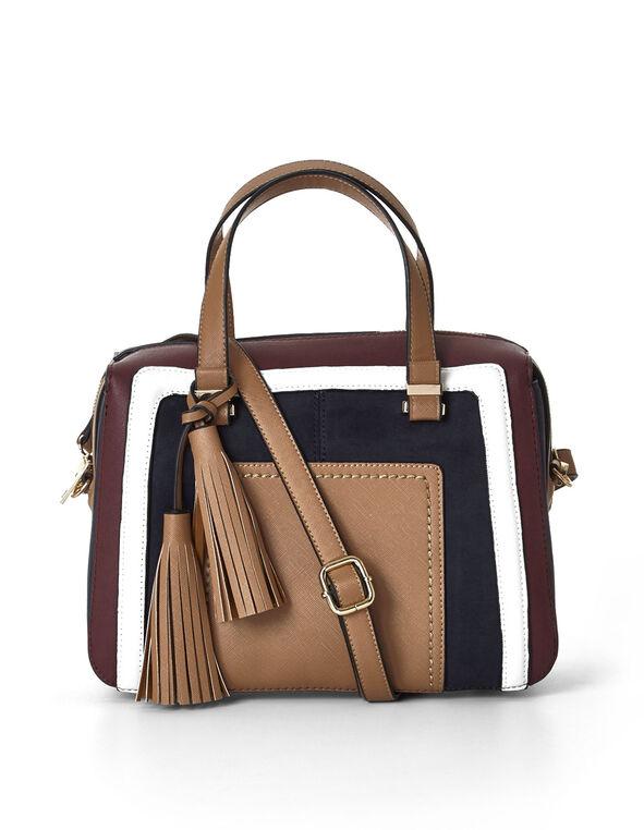 Red Colour Blocked Square Handbag, Red/Camel/Blue, hi-res