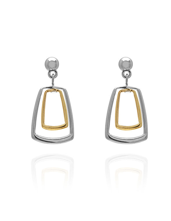 Silver & Gold Rectangle Earring, Silver/Gold, hi-res