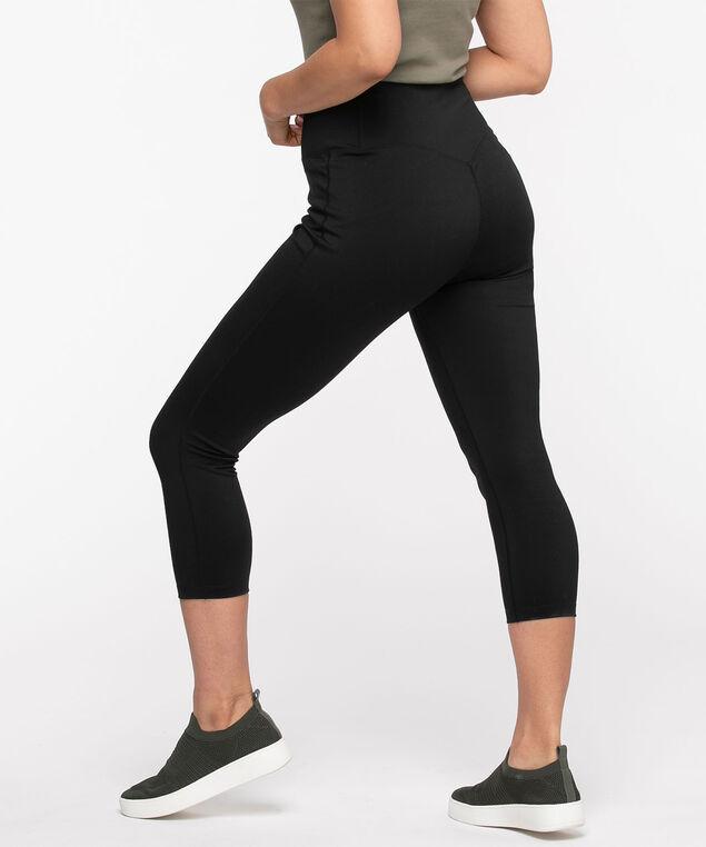 Active Back Pocket Capri Legging, Black