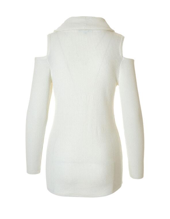 Ivory Cold Shoulder Sweater, Ivory, hi-res