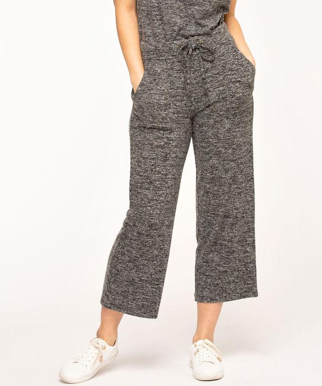 Wide Leg Drawstring Crop Pant, Black Mix