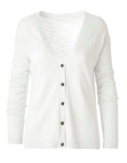 White Slub Button Front Cardigan, White, hi-res