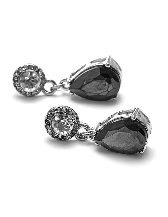 Black Teardrop Crystal Earring, Black, hi-res