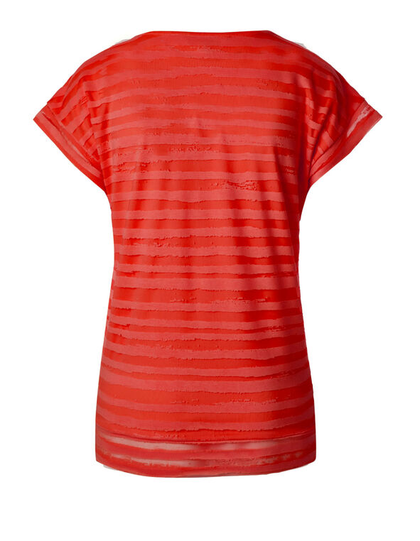Coral Striped Burnout Top, Coral, hi-res