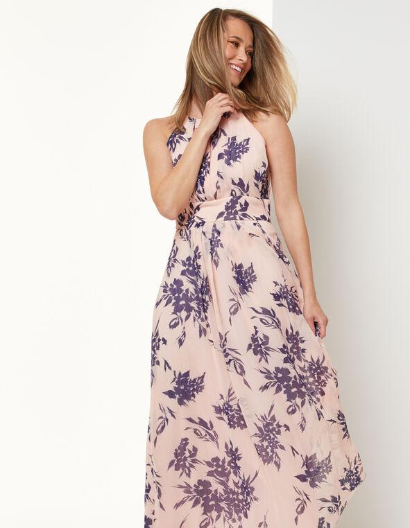 Floral Chiffon Maxi Dress, Pink, hi-res