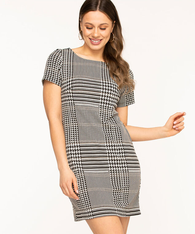 Geometric Patterned Scoop Neck Dress, Black/White
