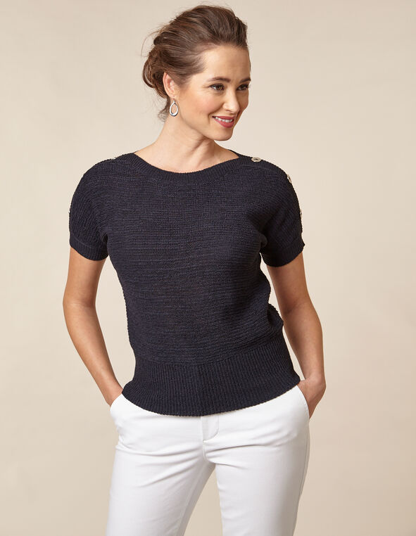 Navy Button Pullover Sweater, Navy, hi-res