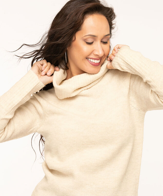 Ribbed Turtleneck Sweater, Almond, hi-res