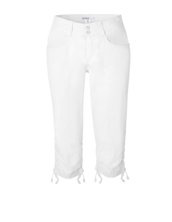 White Ruched Poplin Capri, White, hi-res