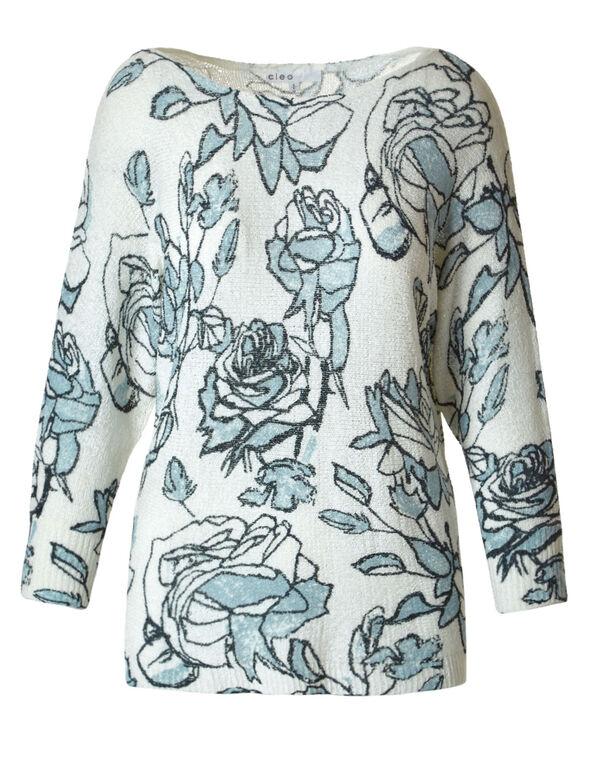 Aqua Floral Dolman Sweater, Aqua/Ivory, hi-res