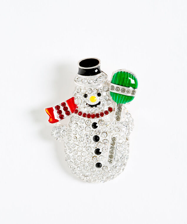 Crystal Snowman Holiday Pin, Silver/Red/Green, hi-res