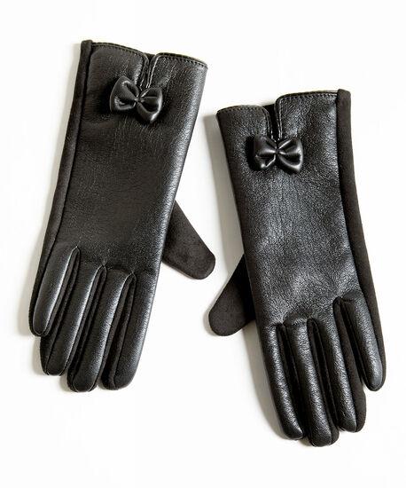 Black Faux Leather Gloves, Black, hi-res