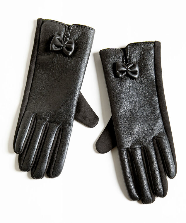Black Faux Leather Gloves, Black, hi-res