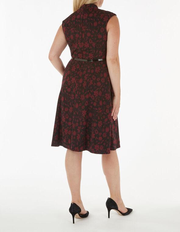 Merlot Floral Jaquard Fit & Flare Dress, Merlot, hi-res