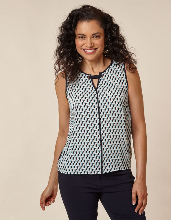 Navy Sleeveless Keyhole Top, Navy, hi-res