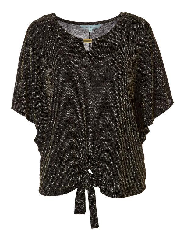 Gold Shimmer Tie Up Top, Gold/Black, hi-res