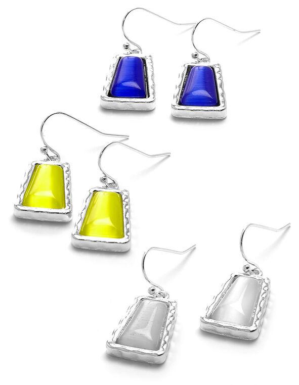 Multi Cat Eye Earring Trio Set, White/Yellow/Blue, hi-res