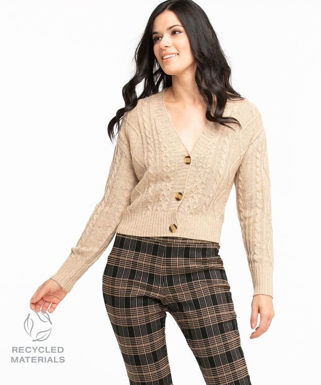 Recycled Cable Knit Cardigan, Straw Mix