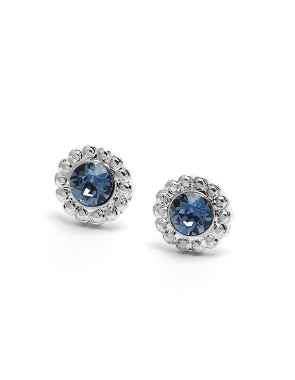 Genuine Crystal Denim Blue Earring, Blue/Silver, hi-res
