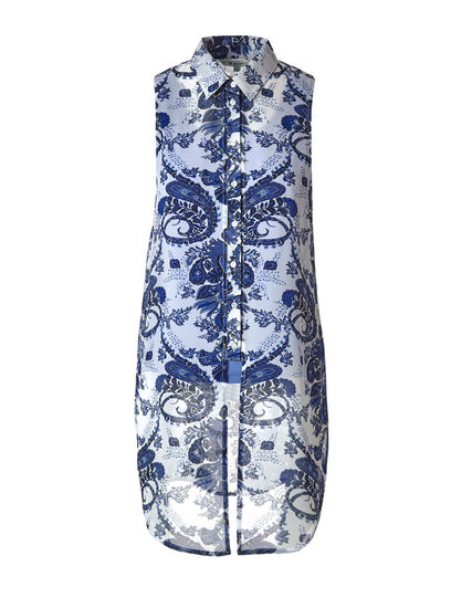 Blue Paisley Printed Tunic Tie Blouse, Blue, hi-res