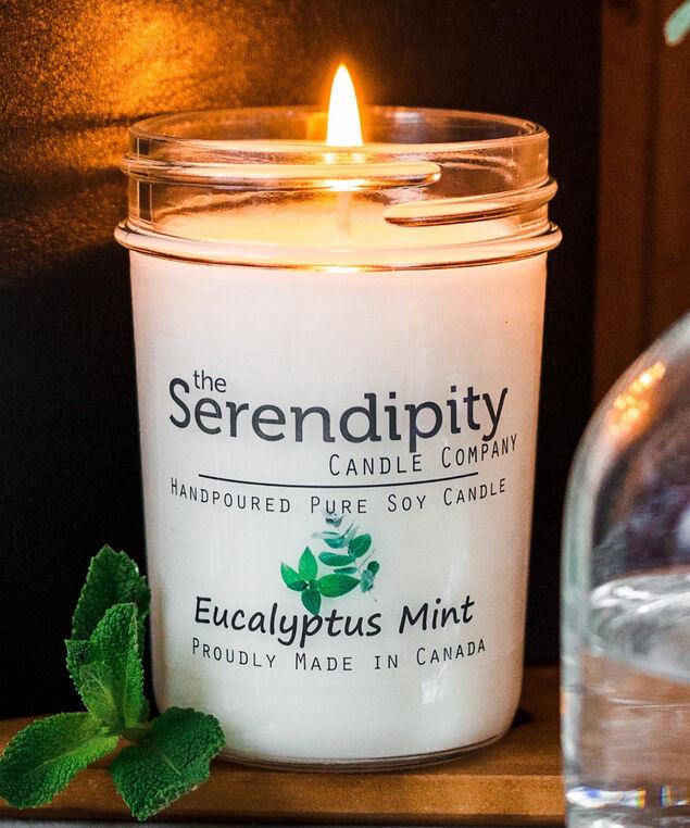 Eucalyptus & Mint Soy Candle, White