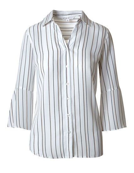 Ivory Striped Blouse, Ivory, hi-res