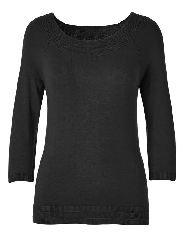 Black Pullover Sweater, Black, hi-res
