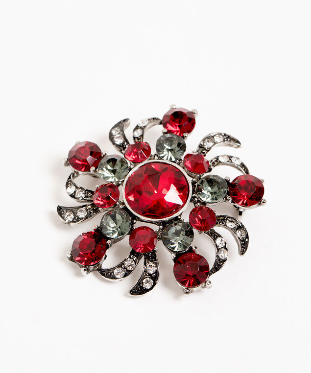Antiqued Silver & Red Crystal Pin, Silver/Red